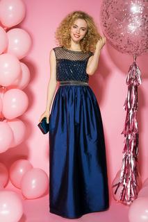 Синее платье с вышивкой La Reine Blanche