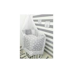 """Постельное белье для круглых кроваток """"Короны"""", 7 предм., by Twinz, серый"""