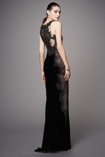 Бархатное платье Marchesa