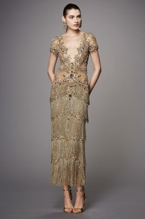 Платье из тюля с бисером и кристаллами Marchesa