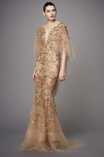 Платье из тюля с вышивкой Marchesa