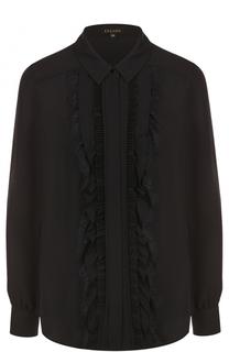 Шелковая блуза свободного кроя с оборками Escada