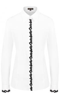 Приталенная блуза с контрастной кружевной отделкой Escada