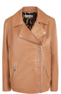 Кожаная куртка прямого кроя с косой молнией Escada Sport