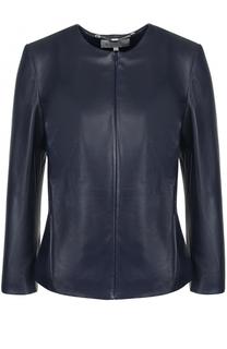 Кожаная куртка на молнии с укороченным рукавом Escada Sport