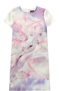 Шелковое мини-платье прямого кроя с принтом Roberto Cavalli