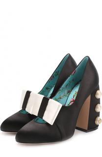 Атласные туфли Luna на декорированном каблуке Gucci