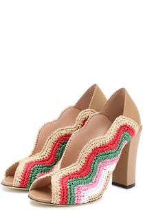 Комбинированные туфли с фигурным вырезом Fendi