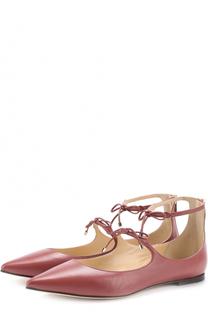 Кожаные балетки Sage на шнуровке Jimmy Choo