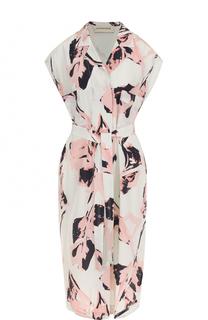 Шелковое платье с поясом и принтом By Malene Birger