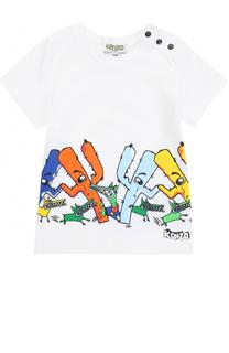 Хлопковая футболка с принтом и заклепками Kenzo