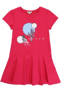 Мини-платье из эластичного хлопка с принтом Kenzo