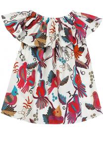 Хлопковое мини-платье свободного кроя с ярким принтом Stella Jean