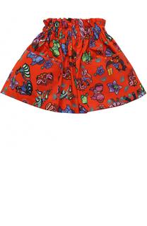 Хлопковая юбка с принтом и накладными карманами Stella Jean