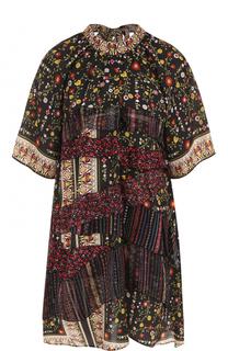 Шелковое мини-платье с оборками и принтом No. 21