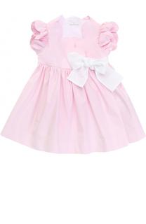 Хлопковое платье с запахом и контрастным поясом Il Gufo