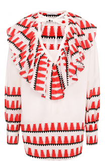 Блуза свободного кроя с принтом и оборками Tome