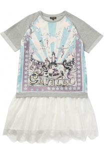 Мини-платье с принтом и кружевной отделкой Roberto Cavalli