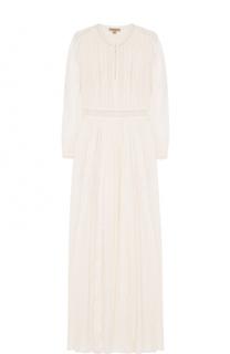 Шелковое платье-макси с кружевной отделкой Burberry