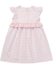 Платье из эластичного хлопка в полоску с оборкой Il Gufo