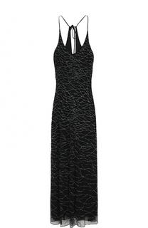 Платье-макси с контрастной вышивкой бисером Armani Collezioni