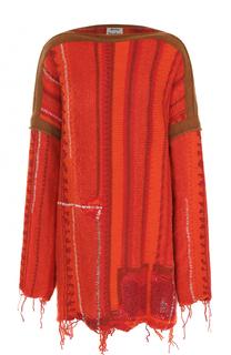 Удлиненный свитер с вырезом-лодочка и бахромой Acne Studios