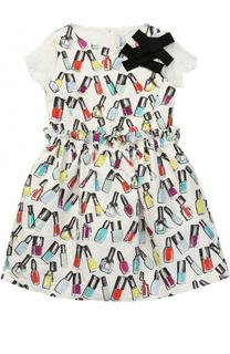 Мини-платье с принтом и кружевными рукавами Simonetta