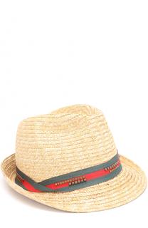 Соломенная шляпа с контрастной лентой и декором Il Trenino