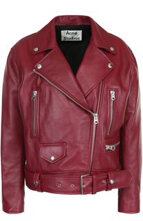 Кожаная куртка свободного кроя с косой молнией Acne Studios