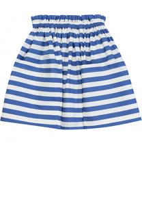 Хлопковая юбка в полоску с накладными карманами Stella Jean