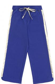 Спортивные брюки прямого кроя с металлизированными лампасами Simonetta