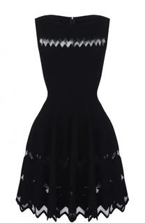 Приталенное мини-платье с юбкой в складку Alaia