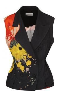 Льняной приталенный жилет с цветочным принтом Dries Van Noten