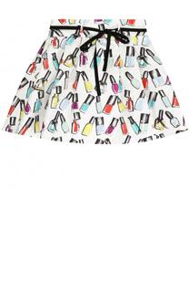 Мини-юбка с принтом и контрастным поясом Simonetta