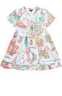 Платье из эластичного хлопка с ярким принтом и оборкой Roberto Cavalli