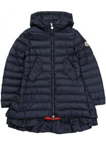 Стеганое пуховое пальто с капюшоном и оборкой Moncler Enfant