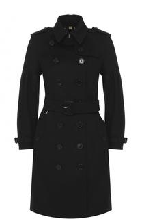 Приталенное двубортное пальто с поясом и погонами Burberry