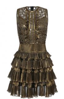 Мини-платье с металлизированной отделкой и оборками Elie Saab