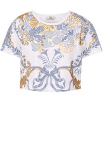 Укороченная хлопковая футболка с принтом Fendi