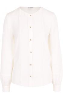 Шелковая блуза прямого кроя с круглым вырезом Oscar de la Renta