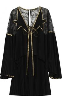 Мини-платье с плиссированными и кружевными вставками Elie Saab