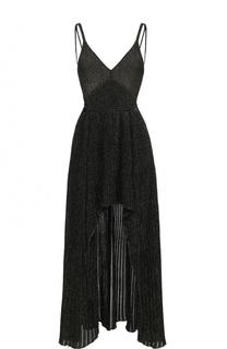 Платье-макси с плиссированной юбкой и металлизированной отделкой Elie Saab