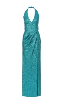 Платье-макси с открытой спиной и пайетками Elie Saab
