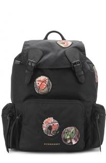 Текстильный рюкзак с контрастными нашивками Burberry