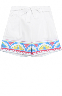 Хлопковые шорты с контрастной отделкой и поясом Roberto Cavalli