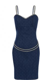 Приталенное джинсовое платье с металлизированной отделкой Philipp Plein