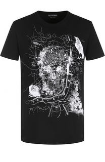 Хлопковая футболка с принтом Alexander McQueen