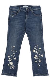 Расклешенные джинсы с вышивкой Simonetta