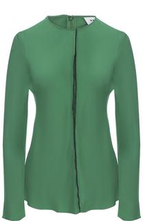 Шелковая блуза прямого кроя с круглым вырезом DKNY