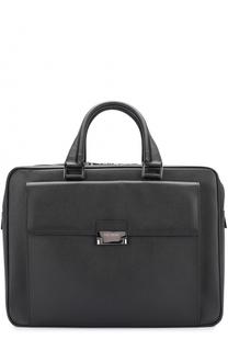 Кожаный портфель на молнии с внешним карманом Pal Zileri